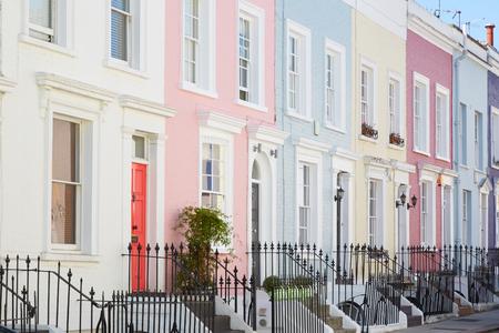 pale colors: Colorful English houses facades, pastel pale colors in London