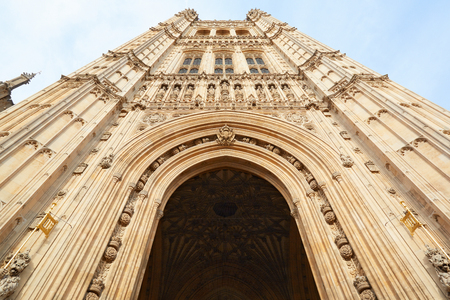 low angle view: Victoria Tower, Palace of Westminster in London, low angle view Editorial