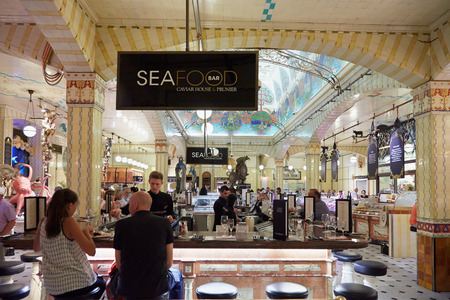 harrods: Harrods department store interior, sea food area with people in London Editorial