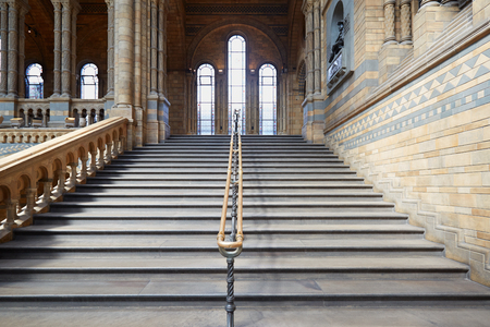natural history museum: Natural History Museum interior with ancient stairway in London Editorial