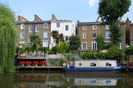 little venice: Little Venice canal, houses and house boat in a summer day in London