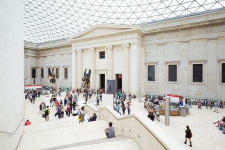 great hall: British Museum Great Court interior with stairway and people in London