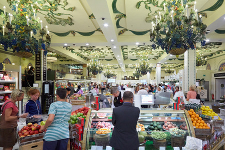 harrods: Harrods department store interior, grocery area in London