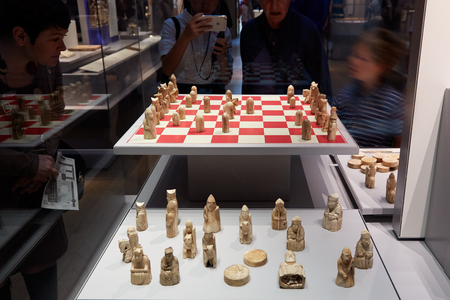 british museum: Lewis chessmen, walrus ivory chess pieces in British Museum in London Editorial