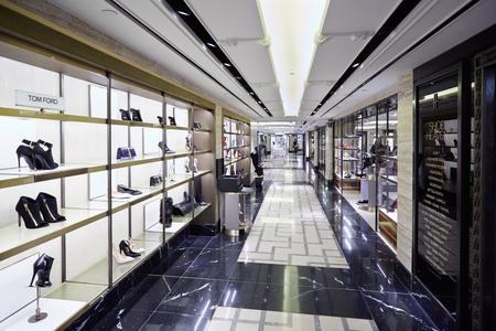 harrods: Harrods department store interior, shoe heaven area in London