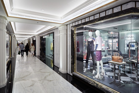Harrods department store interior, luxury fashion shops in London
