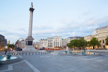 Empty Trafalgar square, early morning in London Stok Fotoğraf