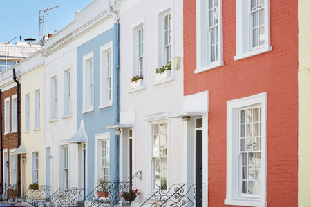 notting: Colorful English houses facades in London