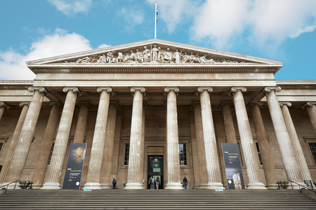 British Museum building facade with people in London