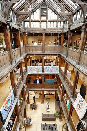 tudor: Liberty, luxury department store interior in Regent Street in London