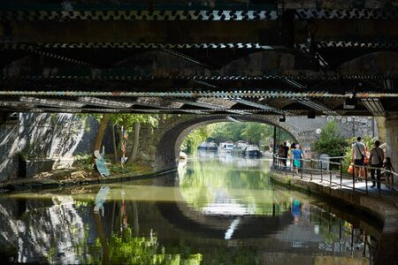 little venice: Little Venice canal in a summer day, under the bridge view in London Editorial