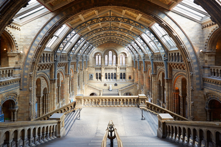 Natural History Museum interior, stairway with arcade view, nobody in London