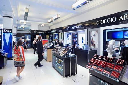 shu: Harrods department store interior, cosmetics and perfumery area in London