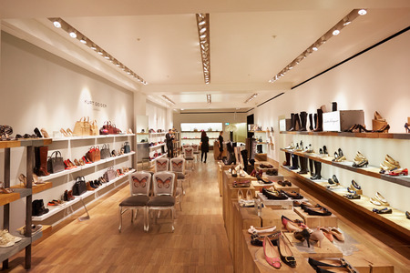 Selfridges department store interior, shoes area in London Stock Photo - 55987570
