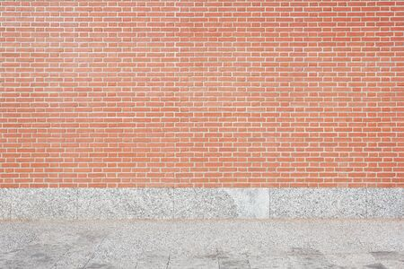 tiled wall: Red brick wall and stone tiled floor background