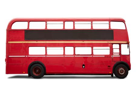 bus anglais: Old bus rouge à Londres, double decker sur blanc, Banque d'images