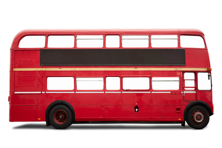 decker: Old red London bus, double decker on white, Stock Photo