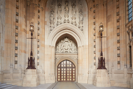 Victoria Tower interior with gate, Palace of Westminster in London