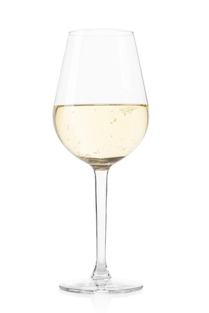 white wine: White sparkling wine glass on white, clipping path