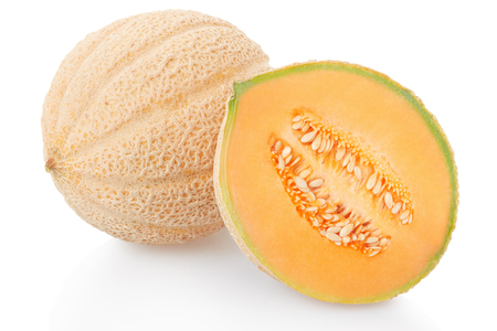 Cantaloupe melon and half on white,