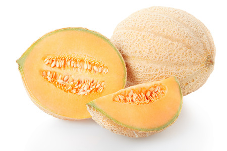 Cantaloupe melon section and slice, clipping path