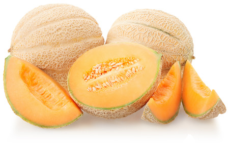 Cantaloupe melons group on white, clipping path Imagens