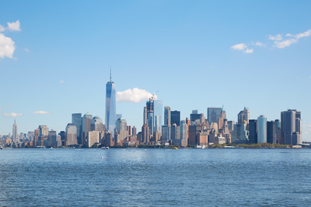 city view: New York city skyline view in a clear day, blue sky