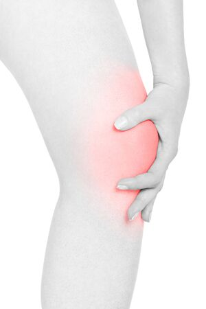 kneecap: Woman touching her red painful kneecap on white, clipping path