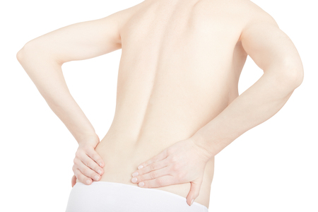 young adult woman: Young adult woman with back pain on white, clipping path