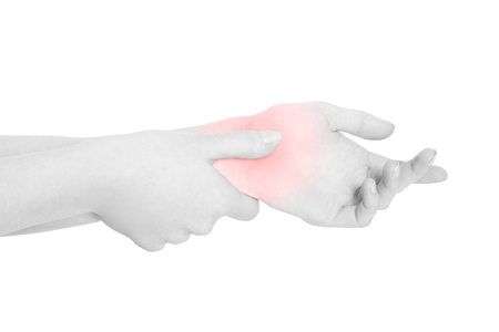 carpal tunnel syndrome: Young woman with carpal tunnel syndrome, red wrist pain isolated on white Stock Photo