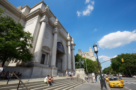 NEW YORK - SEPTEMBER 13: American Museum of Natural History building facade with people in a sunny day, blue sky on September 13, 2016 in New York. This is one of the largest museum of natural history of the world. Editorial