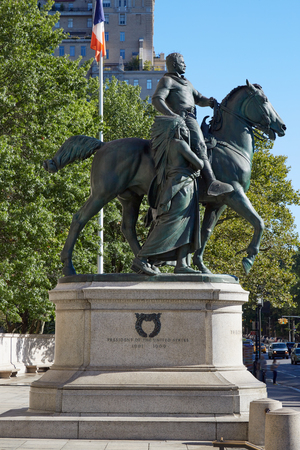 NEW YORK - SEPTEMBER 13: President Theodore Roosevelt equestrian statue in front of American Museum of Natural History in a sunny day, blue sky on September 13, 2016 in New York. It is an artwork of James Earle Fraser and dedicated in 1940.
