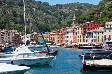 genoa: Portofino, a typical Italian village with small harbor off Liguria sea coast in Genoa province Stock Photo