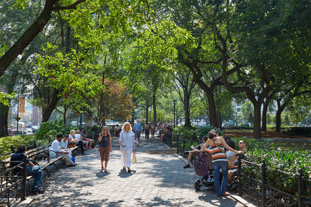 Shake Shack Restaurant In Madison Square Park With People Sitting ...