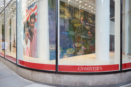 Christies American branch window in Rockefeller Center on September 12, 2016 in New York. It is a British auction house founded in 1766.