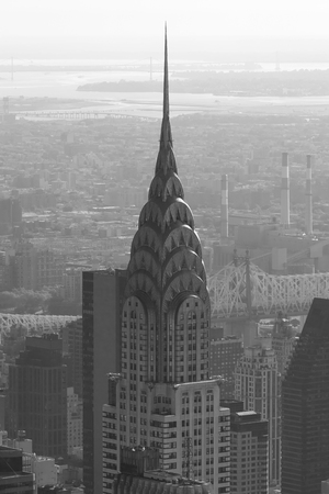 Chrysler Building Top Detail Aerial View In Black And White On September 10 2016