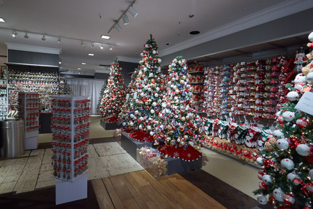 Macys department store interior, Christmas decorations area on September 10, 2016 in New York. Macy is the largest U.S. department store company. Editorial