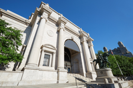 American Museum of Natural History building facade in a sunny morning, clear blue sky on September 13, 2016 in New York. This is one of the largest museum of natural history of the world. Editorial