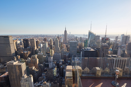 NEW YORK - SEPTEMBER 12: Rockefeller Center observation deck, city and skyline view in a clear sunny day, nobody on September 12, 2016 in New York. The terrace on top of the skyscraper is called