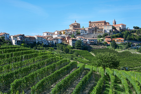La Morra, Italian town on Langhe hills in a sunny day