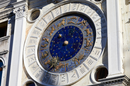 Gold zodiac signs and astronomical clock in a sunny day in Italy