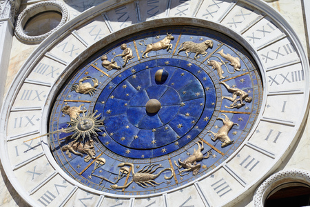 Astrological clock with gold zodiac signs in a sunny day