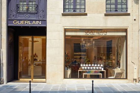 PARIS, FRANCE - JULY 07, 2018: Guerlain store windows in Paris in a sunny summer day