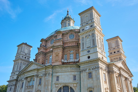Sanctuary of Vicoforte church in a sunny summer day in Piedmont, blue sky in Italy
