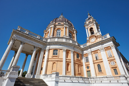 Superga basilica in a sunny summer day, clear blue sky in Turin, Italy