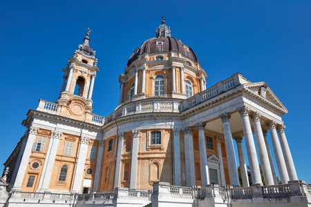 Superga basilica on Turin hills in a sunny summer day in Italy, Unesco heritage site Imagens