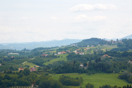 Green hills view from panoramic viewpoint in Mondovi, Piedmont, Italy