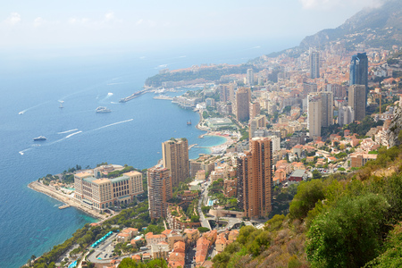 Monte Carlo city view with mist in a sunny summer morning in Monaco