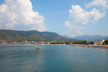 Sestri Levante coast in a sunny summer day in Italy