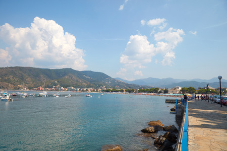 Sestri Levante bay and see in a sunny summer day in Italy